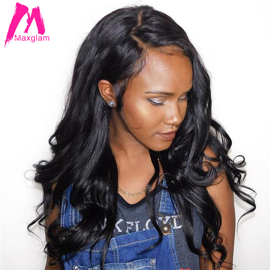 Maxglam 360 Lace Front Human Hair Wigs With Pre Plucked Baby Hair Brazilian Remy Body Wave Lace Wigs 22*4*2 150% Free shipping(China)