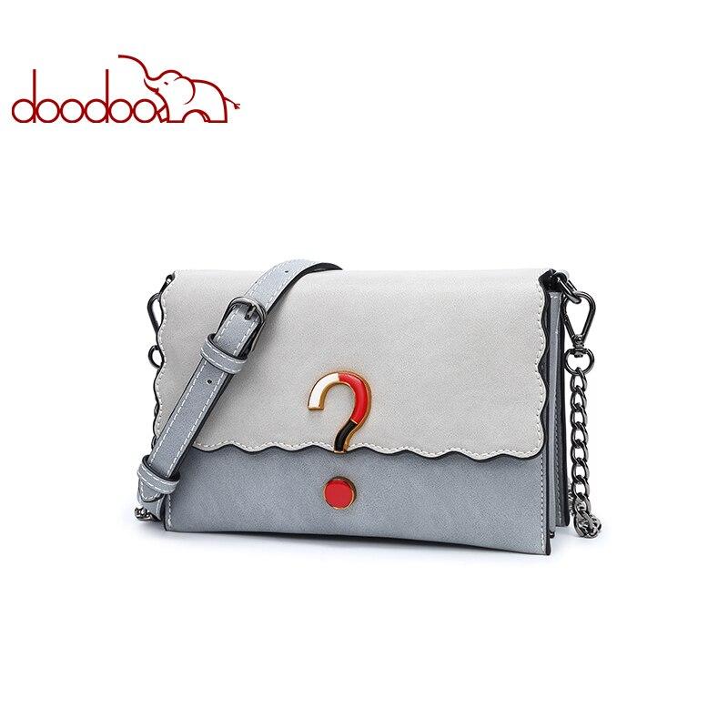 DOODOO marca mujeres bolso de hombro femenino Crossbody cadena cuero ...