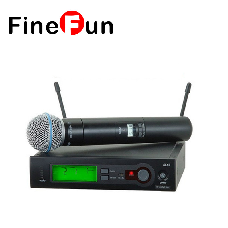 FineFun High Quality A58 Single Handheld Wireless Microphone UHF Vocal Microfone System with 6 pin Handheld  free shipping high quality version sm 58 58lc sm58lc wired vocal karaoke handheld dynamic microphone microfone microfono mic