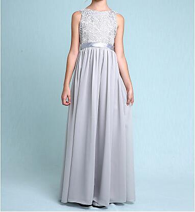New Sheath Lace Chiffon Junior Bridesmaid Bateau Neck Ankle Length Custom Made Flower Girls Dresses