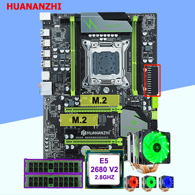 Discount motherboard set new <font><b>HUANANZHI</b></font> <font><b>X79</b></font> <font><b>Pro</b></font> motherboard with DUAL M.2 slot CPU Intel Xeon E5 2680 V2 CPU cooler RAM 16G(2*8G) image