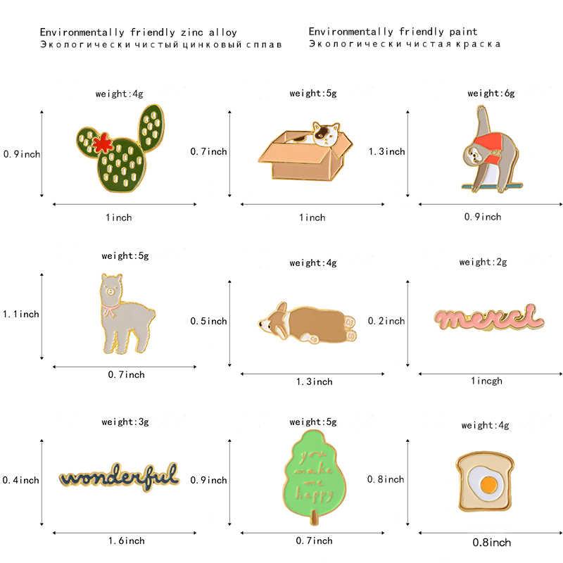 漫画ブローチコレクションサボテン木トーストアルパカ猫ボックスアルパカトーストコーギーピンバッジエナメルピンラペルピン女性男性