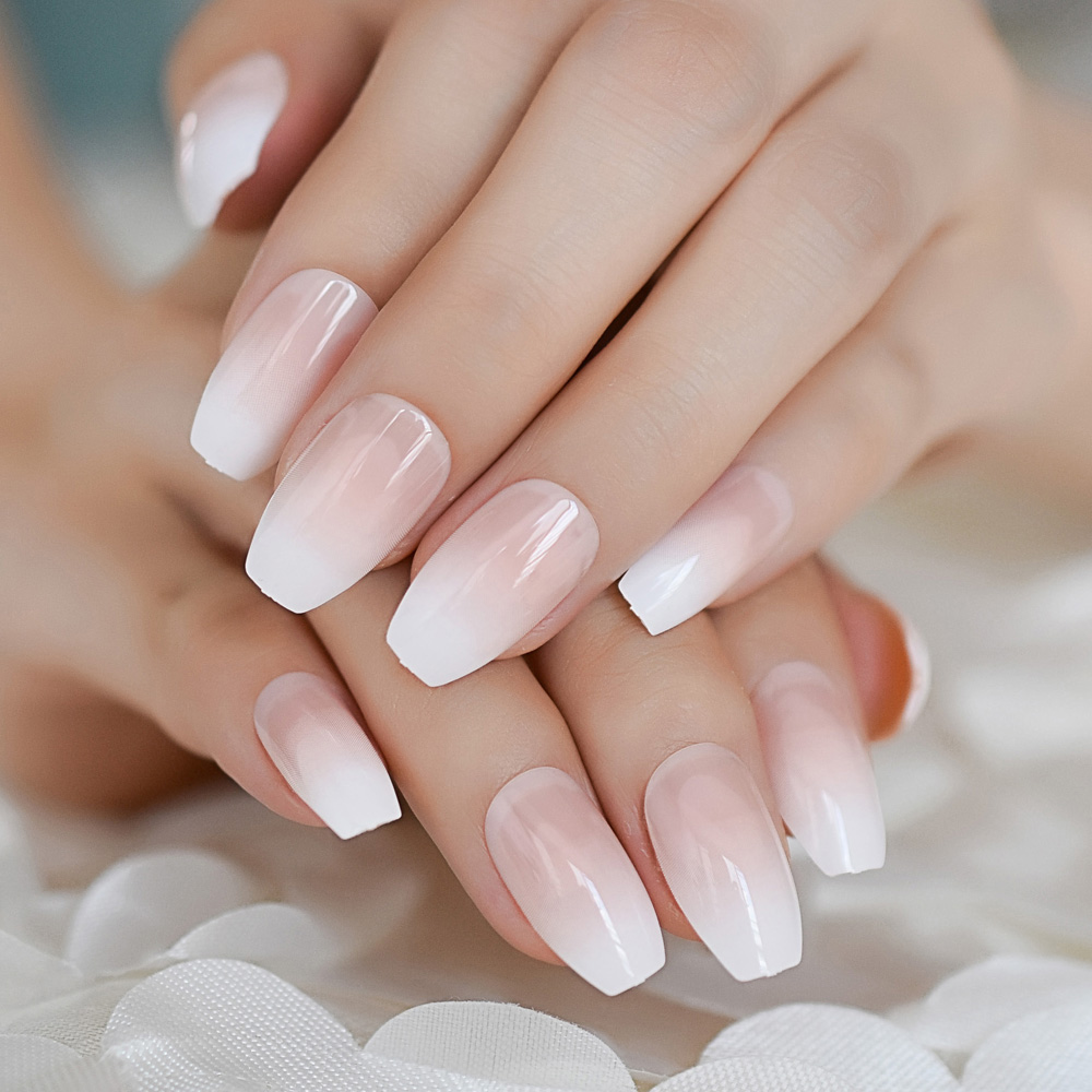 Pink Nude White French Ballerina Coffin False Nails Gradient natural Manicure Press on Fake Nails Tips Daily Office Finger Wear
