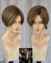Filme biohazard leon scott kennedy curta cor marrom destaques estilo resistente ao calor do cabelo cosplay peruca traje + peruca livre