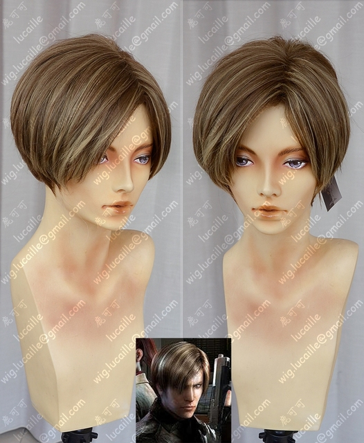 Película Biohazard Leon Scott Kennedy, peluca de disfraz de Cosplay resistente al calor con estilo, corto marrón y gorro de peluca gratis