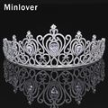 Minlover Luxurious Cubic Zirconia Bride Crown for Women Silver Color Crystal Tiaras Wedding Hair Accessories MHG072