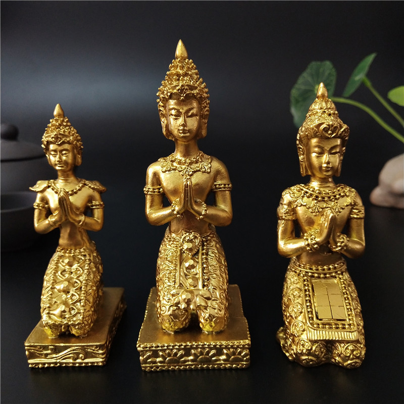 Gold Thailand Buddha Statue For Home Garden Decoration Hindu Meditation Pray Buddha Sculpture Figurines Ornaments Crafts Statues