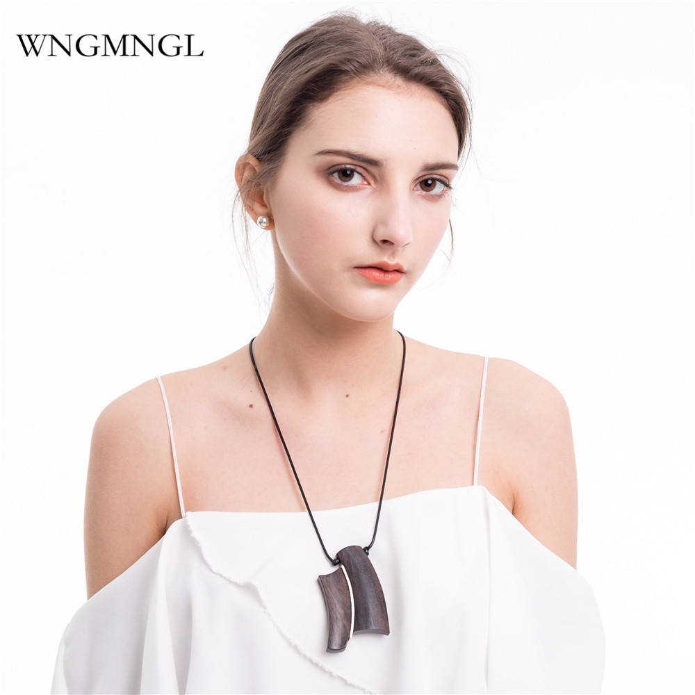 WNGMNGL 2018 New Vintage Female Pendant Necklaces Simple Geometric Wood Long Drop For Women Fashion Choker Jewelry