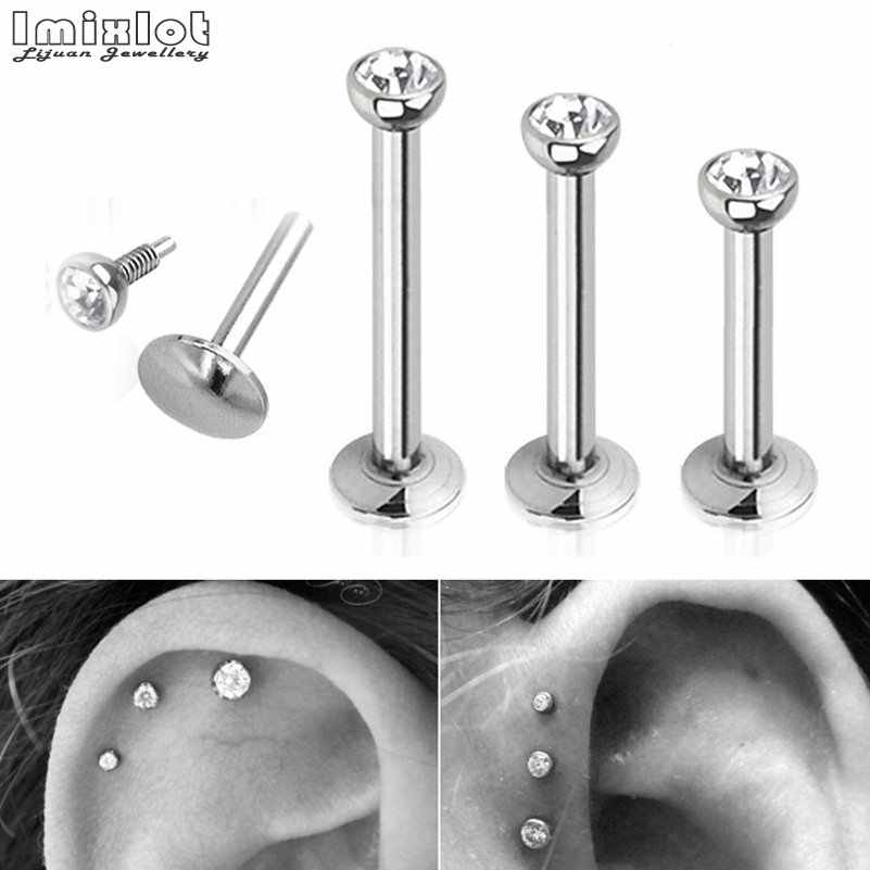 1Pair Surgical Steel Flat CZ Gem Ear Cartilage Tragus Helix Piercing Labret Lip Studs Ring Internally Thread Body Jewelry