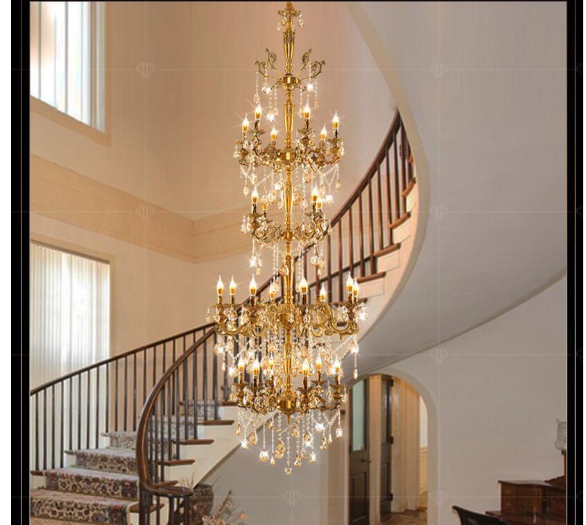 Liga de bronze Europeu Luxuoso D80cm H235cm Lustre Moderno Lustre de Cristal/Luz/Iluminação Fixture AC 100% Garantido