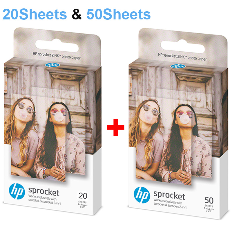Zink Photo Paper 5*7.6cm (2x3-inch) For HP Sprocket Photo Printer Without Ink Sticky-Backed Diy Photo Printing 20/50 Sheets
