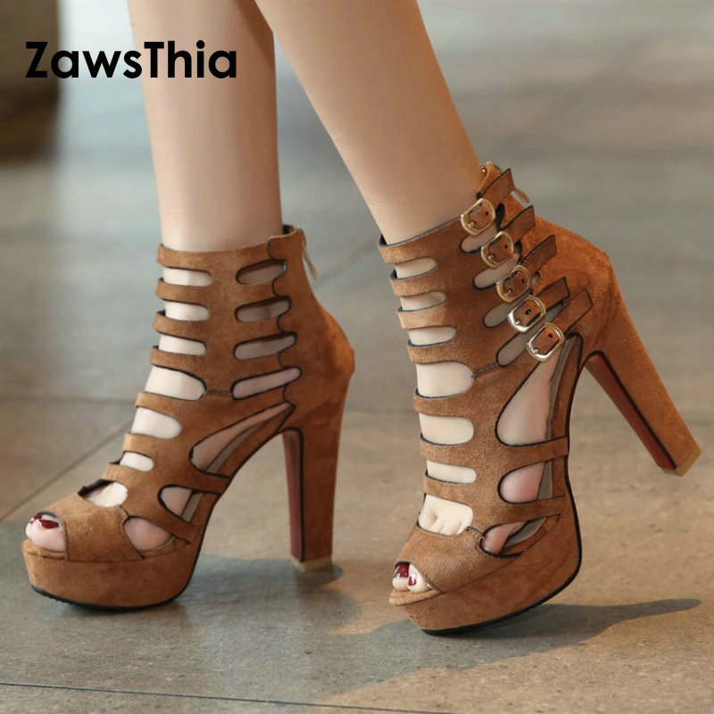 ZawsThia 2018 summer party club sexy pumps buckle peep toe woman shoes platform high heels woman Gladiator sandals big size 42 manmitu10 free shipping european vogue peep toe club shoes women high heels girls sexy buckle sequined cloth platform pumps 19cm