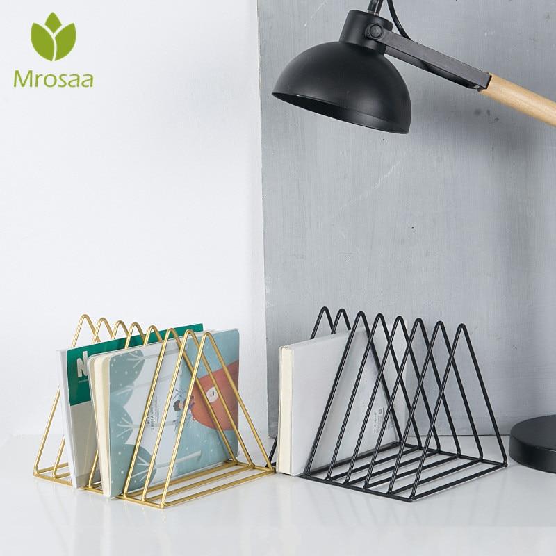 Nordic Triangle Simple Wrought Iron Desktop Storage Rack Shelf File Magazine Bookend Office Rack Stationery Organizer Holder