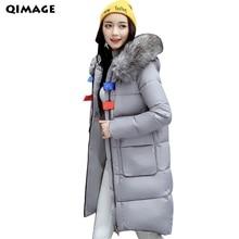 QIMAGE 2017 Women Winter Parkas Long Fur Collar Hood Thick Warm Jacket Female Cotton Jacket Coat Plus Size LadiesOutwear Jackets