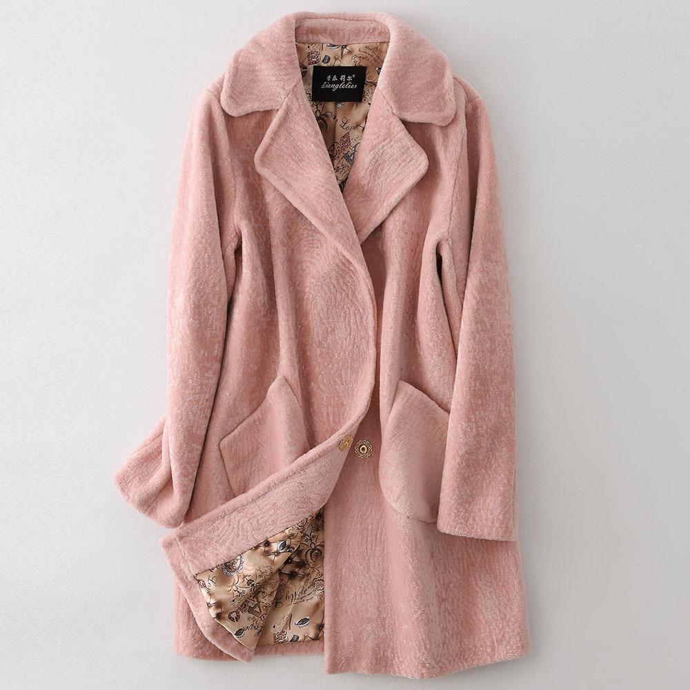 Moutons Fourrure Pur Veste Tonte De pink couleur White Des Style Loisirs Col Roulé Nouveau Manteau VqUzMpLSG