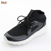 INOE 2018 fashion style man summer shoes air mesh for men sneakers non-slip & light sole breathable grey black 36-44 slip-on