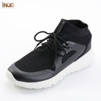 INOE 2018 fashion style man summer shoes air mesh for men sneakers non slip & light sole breathable grey black 36 44 slip on