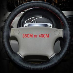 Image 2 - Osłona na kierownicę do samochodu oplot 4 kolory ręcznie szyte z mikrofibry osłona koła samochodu z igła i nić wyposażenie wnętrz