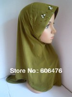 mu141 Embroidery and beaded 12 pcs per dozen Sale ITY muslim Hijab stock item assorted color Solid Islamic Ladies' Hijab
