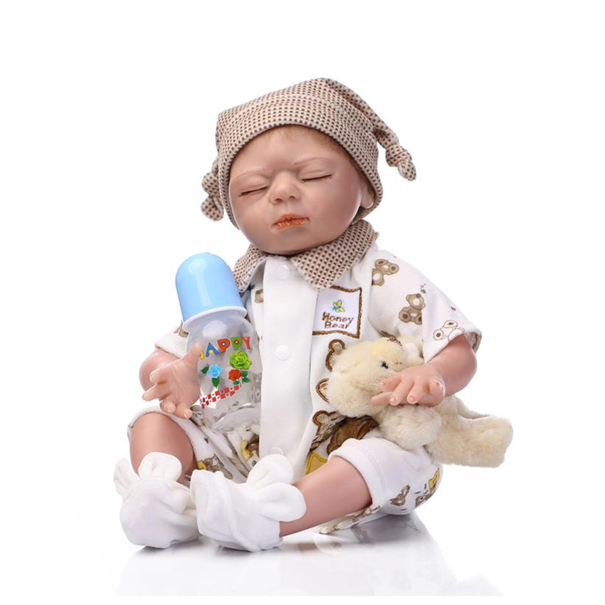 New Real Looking Silicone Reborn Babies Dolls Toys for Children's Birthday Gift,18 Inch Lifelike Newborn Sleeping Doll 15 real reborn babies silicone reborn dolls for girls children s birthday gift new lifelike baby newborn dolls with clothes