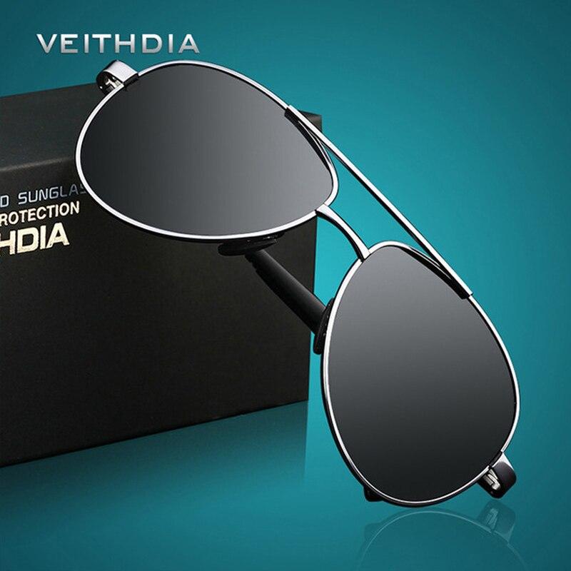 Купить на aliexpress VEITHDIA с УФ-защитой Для мужчин солнцезащитные очки Брендовая Дизайнерская обувь Pilot, поляризационные мужские солнцезащитные очки gafas oculos de sol ...