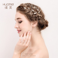 Handmade Leaf Gold Bridal Accessories Hair Pins Crystal Wedding Tiara Pearl Jewelry Women Headpiece Hair Wedding