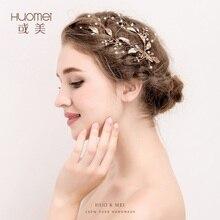 Handmade Da Folha de ouro Acessórios De Noiva Pinos De Cabelo De Cristal Tiara Do Casamento Da Pérola de Jóias Mulheres acessórios do casamento Headpiece cabelo