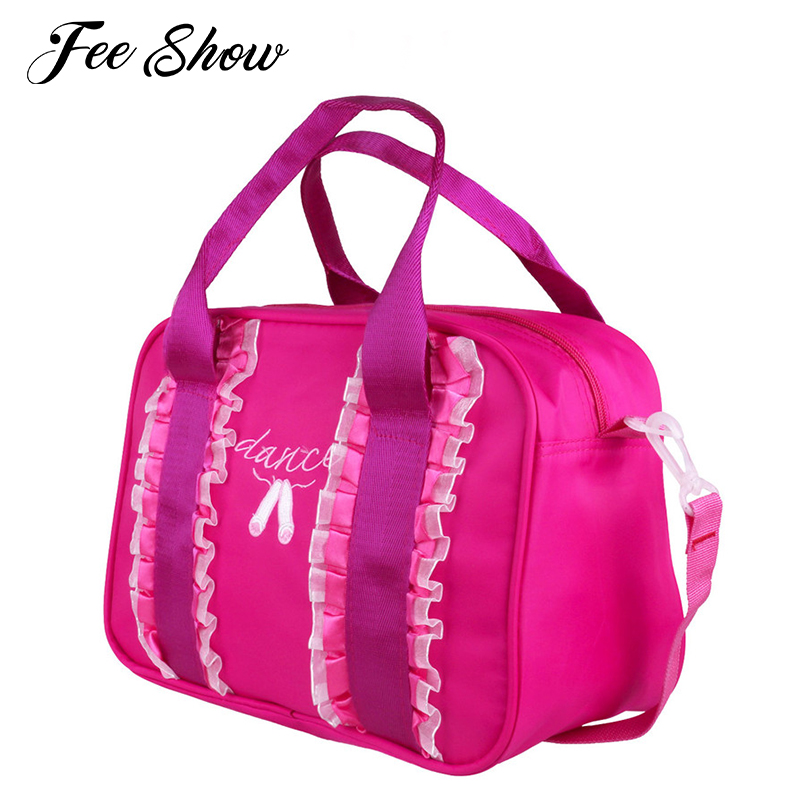 Fashion Kids Girls Ballet Bag Ruffles Embroidered Dancing Toe Shoes Ballet Dance Bag Hand Bag Adorable Duffel Bag for Kids Dance