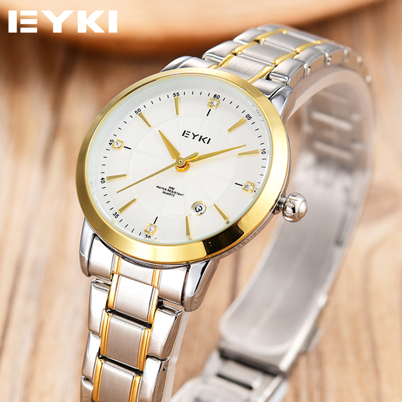 EYKI Brand Relogio Feminino Date Day Clock Female Stainless Steel Watch Ladies Fashion Casual Watch Quartz Wrist Women Watches