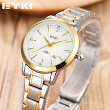 Marca de fábrica de EYKI Relogio Feminino Fecha Día Reloj Femenino Reloj de Moda Casual Reloj de Pulsera de Cuarzo de Acero Inoxidable Relojes de Las Mujeres