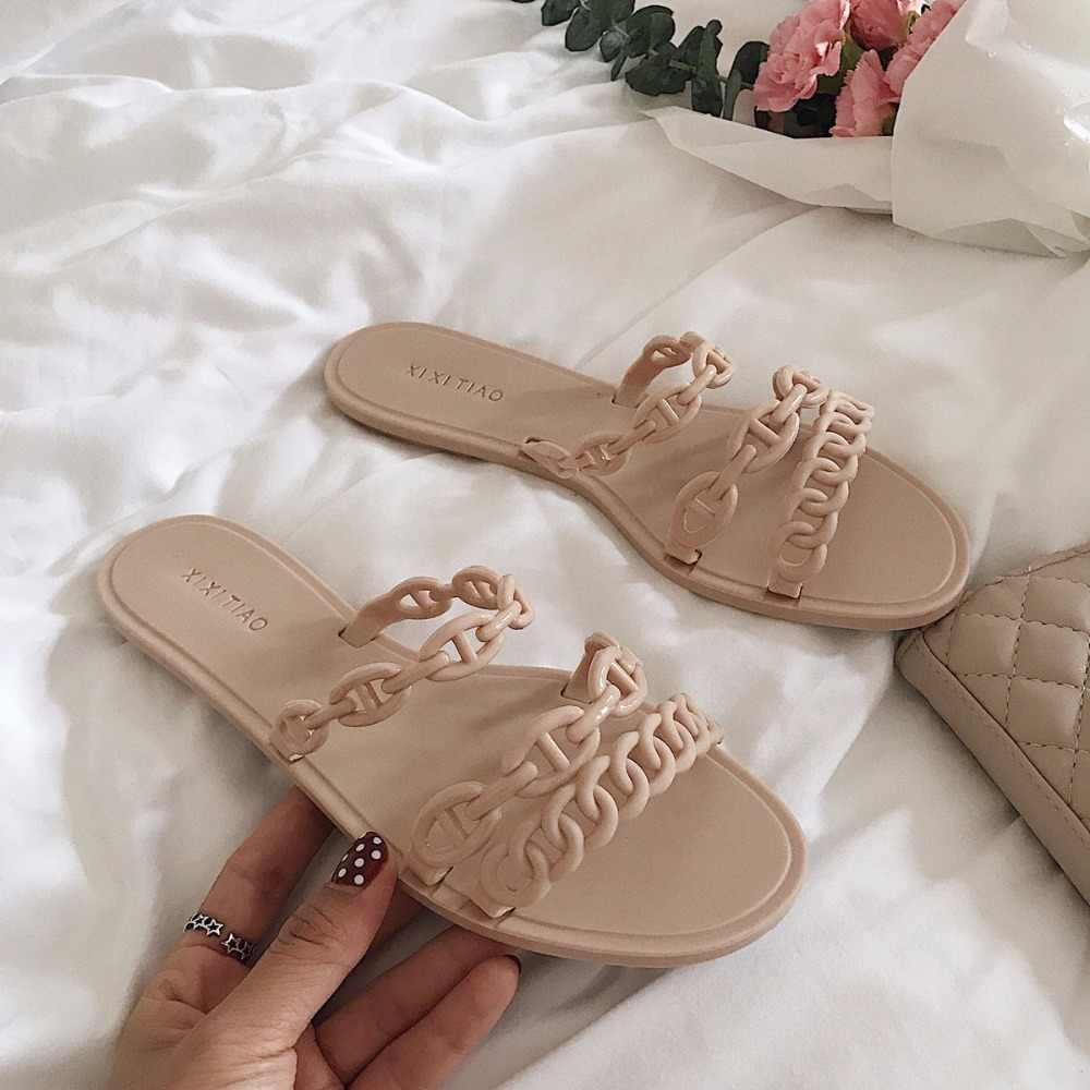 famous designer plastic chains slippers women flat heel three band jelly sandals casual style beach flip flops ladies slides 216