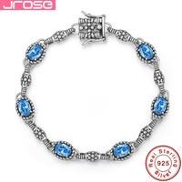 Jrose heart lobster design, Solid 925 sterling silver bracelet, blue setting classic, female engagement gift