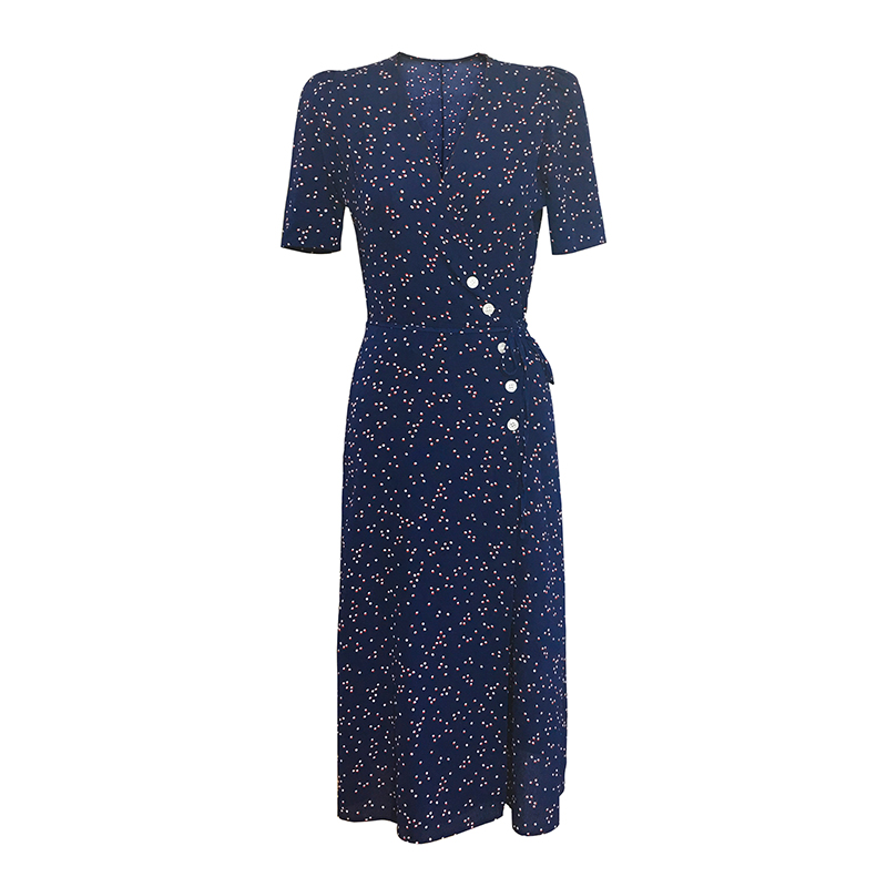 283d9b7af7c New Arrival Summer Women Fashion Elegant Maxi Party Dress French Style Navy  Floral Gauze Sexy Split Beach Dresses vestidos-in Dresses from Women s  Clothing ...