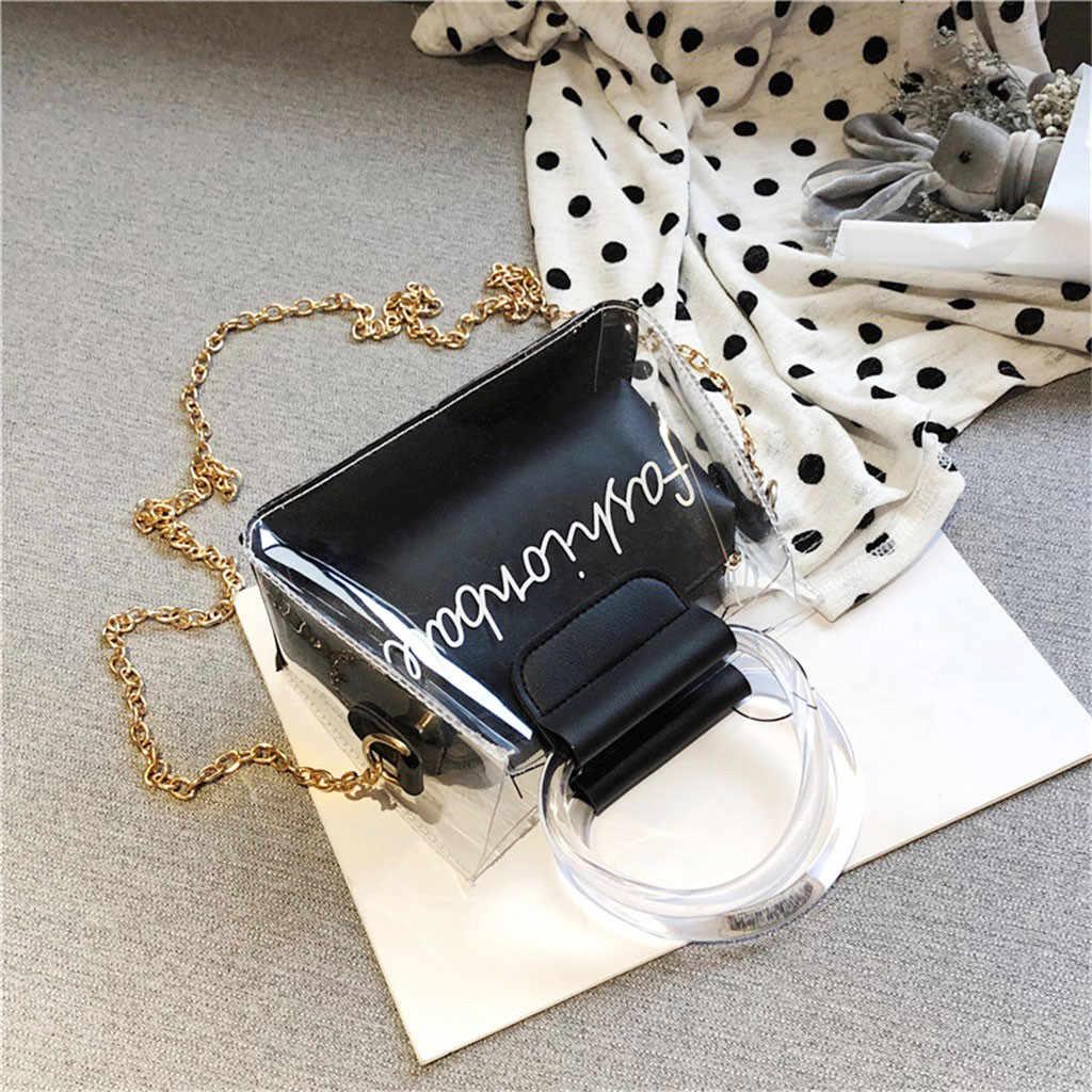 2 Pcs Tas (ANAK & Ibu) tas Transparan Menangani Jaringan Kecil Jelly Huruf Cetak Sederhana Bahu Dompet Tas Clutch Bolsa
