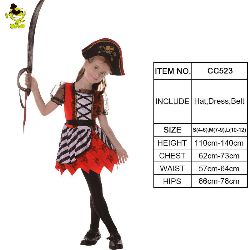 Deluxe Girls Red Pirates Cosplay Costume Halloween Carnival  Kids Princess Dress