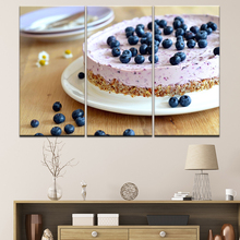 Canvas Painting Food blueberry-cake 3 Pieces Wall Art Modular Wallpapers Poster Print for living room Home Decor