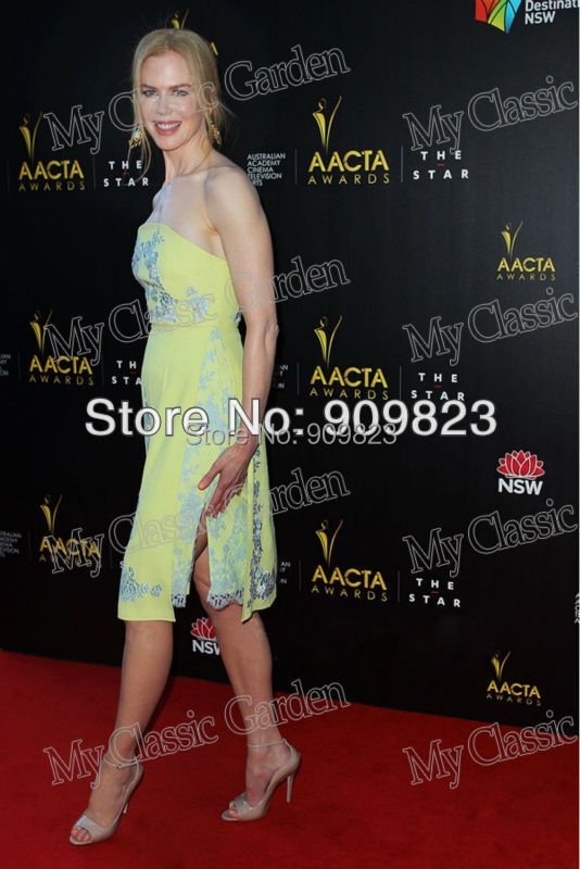 eb846fa44adc New Arrival Nicole Kidman Strapless Slivery Embroidery Knee Length Yellow  Mini Short Celebrity Evening Dresses New Fashion-in Celebrity-Inspired  Dresses ...