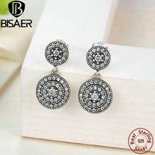 Real 925-Sterling-Silver Radiante Elegancia Competible con Joyería De Plata Pendientes de Gota Para Las Mujeres