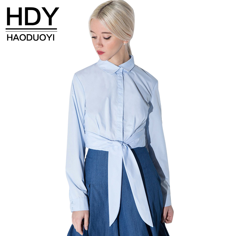 NEW FASHIONS  HDY Haoduoyi Women 2016 Fashion Blouse Women Long Sleeve Turn-down Collar Shirts Women Casual Shirt Sash Bowknot Ladies Top