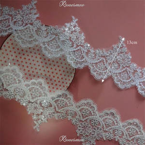 Trim Cording Flower Mesh-Lace Fabric Sequins Applique Wedding-Dec. White/ivory 1Y