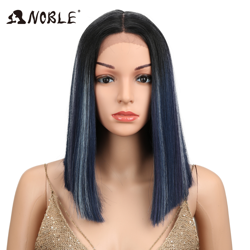 Noble African American Bob Wigs 14 Short Ombre Black Middle Part Space 5 Colors Straight Lace Front Synthetic Wigs For Women