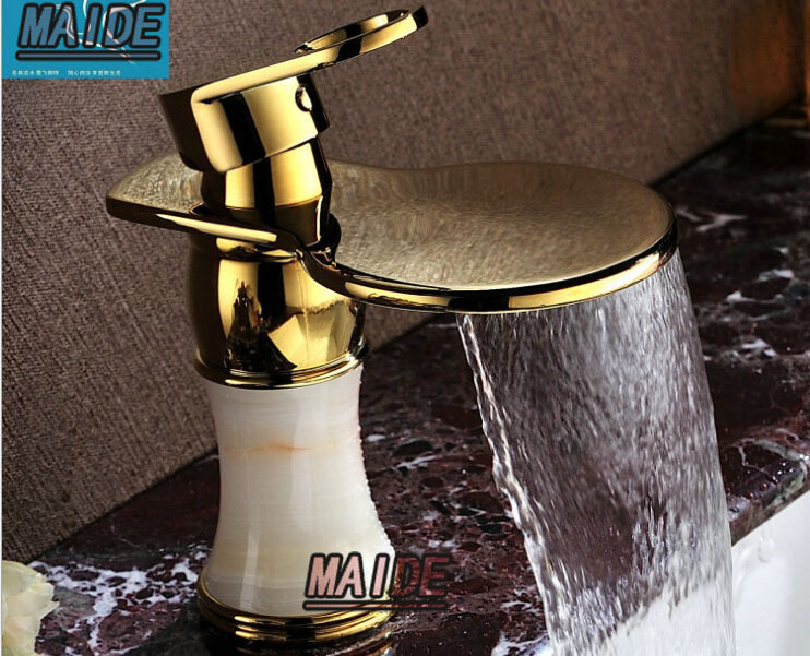 Tall Bathroom Vessel Sink Faucet Single Lever Waterfall: Solid Brass Gold(Ti PVD) Widespread Waterfall Bathroom