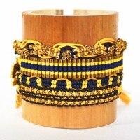 Verfraaid Touw Stijl Verstelbare Rhinestone Gevlochten Armbanden Sets Gift School Sieraden Marine & Koningsblauw Atletische Goud Oranje