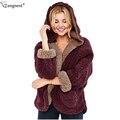 TANGNEST Preppy Style Faux Lamb Wool Coat 2017 Autumn Winter Fashion Fur Jacket Warm Solid Reversible Hooded Garment WWD259