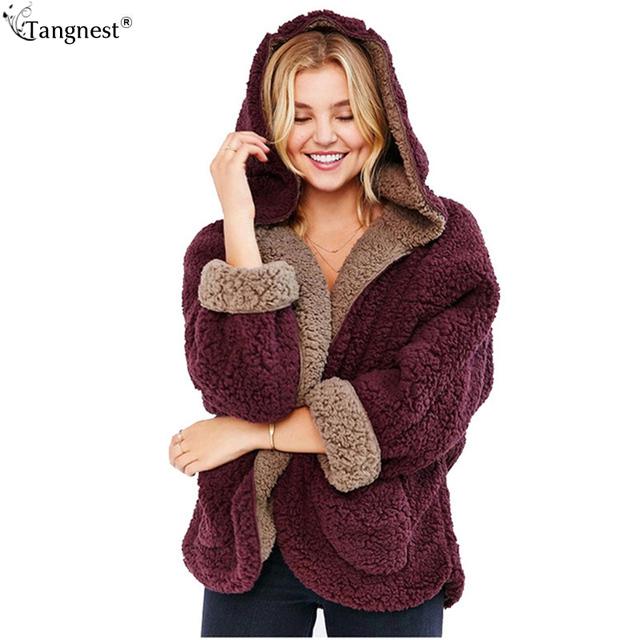 Tangnest estilo preppy casaco de lã 2017 moda outono inverno da pele do falso cordeiro jaqueta reversível com capuz vestuário quente sólida wwd259