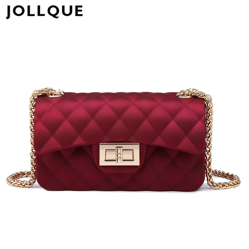 JOLLQUE 6 Colors Mini Jelly Bag Metal Chain Belt Party Famous Brand Shoulder Message Bags Small PVC Quilted Handbag Gift Child 2015 women s handbag mini jelly bag crystal bag one shoulder bag picture small handbag