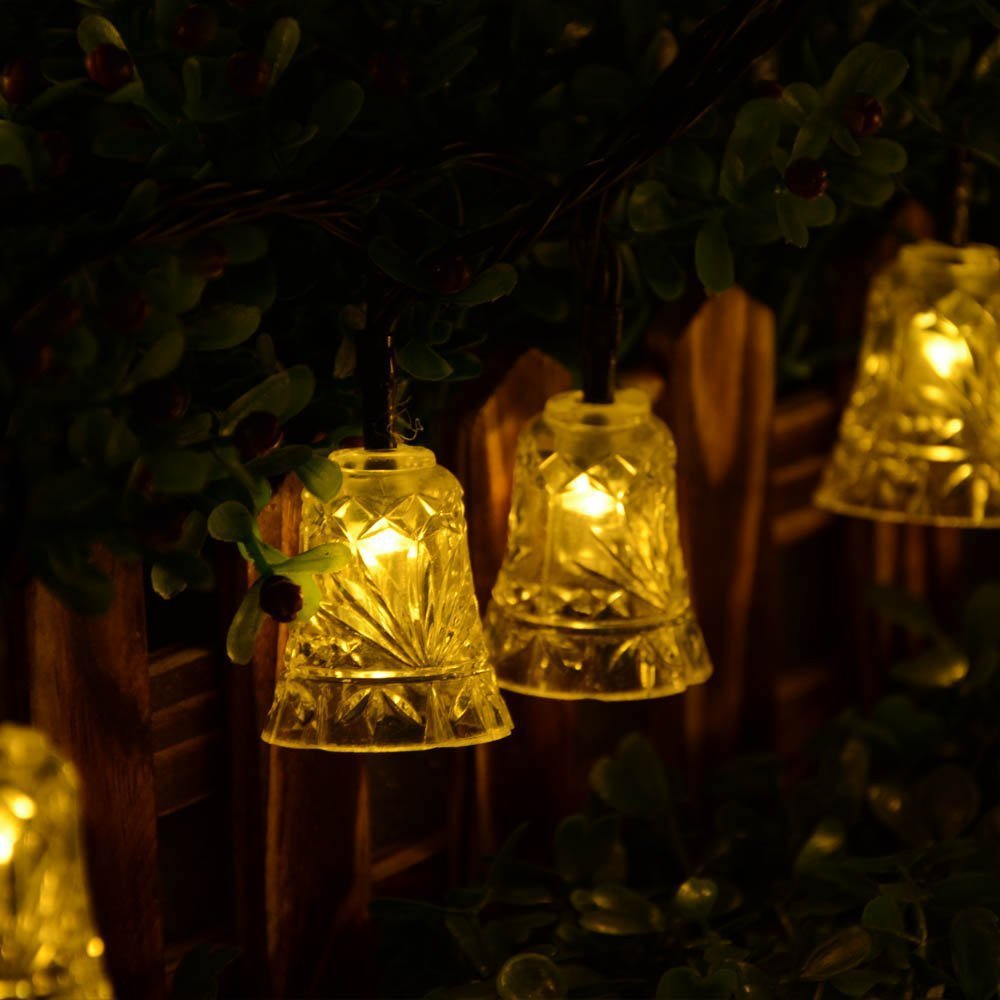 20 LED Bell Outdoor Solar String <font><b>Lights</b></font> Waterproof Solar Lamp for Garden Patio Fence Wedding Party Christmas Decoration IY601017