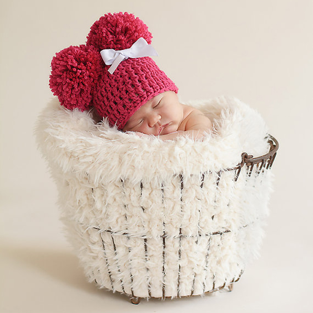 2017 Winter Warm Baby Knitted Hat Cap Newborn Photography Props Cute Infant Toddler Crochet Knitted Warm Ball Hat Cap Beanies
