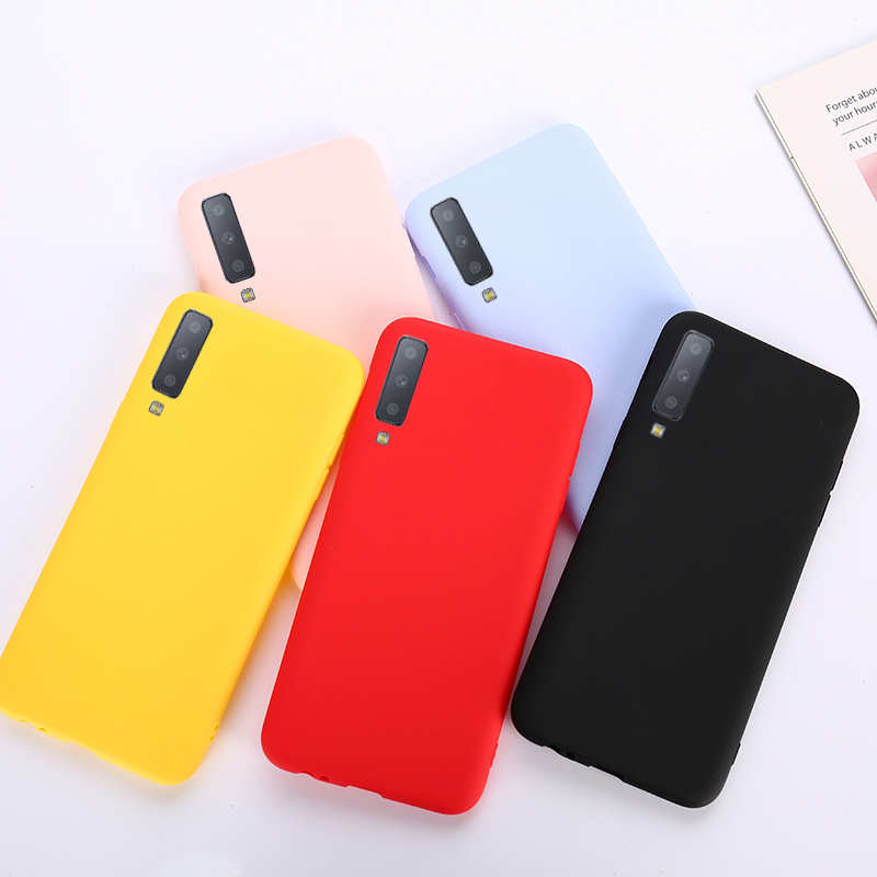 Candy Color Case For Samsung Galaxy A7 2018 A6 A8 A3 A5 A7 J3 J5 J7 A9 2017 S7 Edge S8 S9 S10 Plus Note 9 Silicon Matte TPU Case