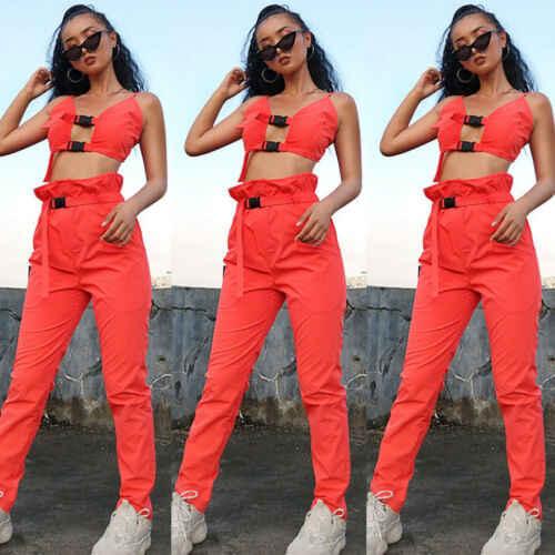Летняя Модная стильная женская одежда из 2 предметов оранжевое, без рукавов, с цветочным принтом, укороченный топ, комплект со штанами, повседневный комбинезон